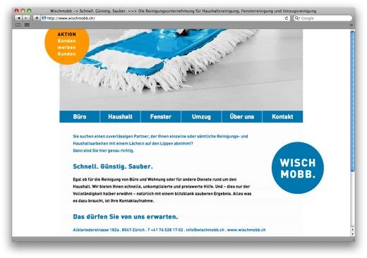 Homepage der Reinigungsfirma Wischmobb