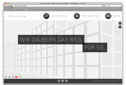 Homepage der Software- und System-Engineeringfirma Marisma